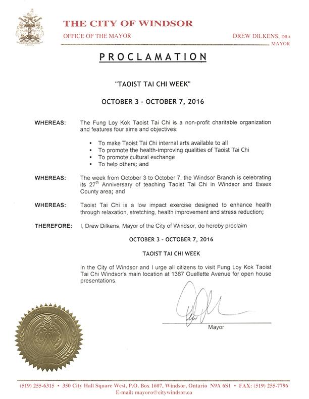 City of Windsor, Ontario Proclaims Taoist Tai Chi Week